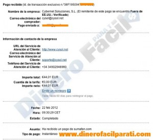 Segundo pago de Sumafan (44€) – comprobante de pago ganado con Facebook.